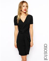 Asos Tall Wrap Front Bodycon Dress - Lyst
