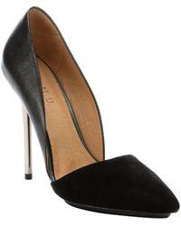 L.a.m.b. Black Pony Leather Trina Dorsay Metallic Stiletto Pumps - Lyst