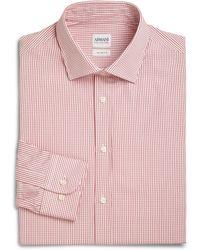 Armani Small Check Cotton Dress Shirt - Lyst