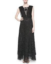 Adam Lippes Double-layer V-neck Gown - Lyst