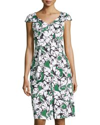 Carolina Herrera Elephant-print Cap-sleeve Dress - Lyst