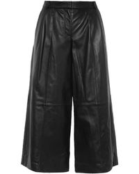 Tibi Pleated Wide-Leg Leather Culottes - Lyst