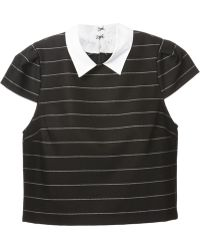 Alice + Olivia Striped Collared Top - Lyst