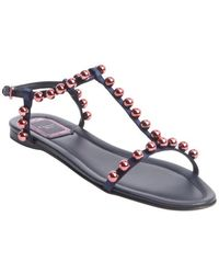 Dior Navy and Rose Fabric Bead Studded T-strap Sandals - Lyst