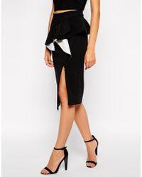 Bardot Pep Hem Skirt With Asymmetric Hem - Lyst
