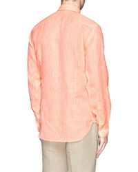 Canali Heathered Linen Shirt - Lyst
