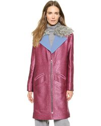Rodarte Glitter Coat with Shearling Collar - Fuchsia - Lyst