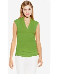 Vince Camuto Pleated V-Neck Top green - Lyst