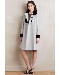 Orla Kiely - Velvet-trimmed Wool Coat - Lyst