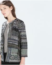 Zara Multicolor Embroidered Jacket - Lyst