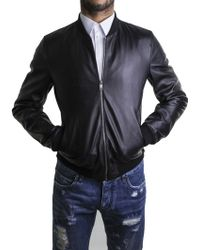 Dolce & Gabbana | Black Leather Bomber | Lyst
