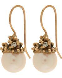 Ruth Tomlinson - Gold Diamond Encrusted Pearl Drop Earrings - Lyst