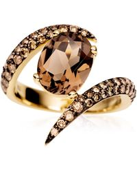 Shaun Leane Yellow Gold Ring with Oval Shaped Smokey Quartz and Brown Diamonds - Lyst