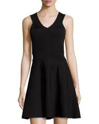 Milly Angled Rib Stretch Flared Dress - Lyst