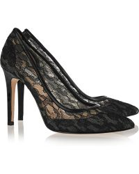 Lucy Choi London Prospero Lace and Leather Pumps - Lyst