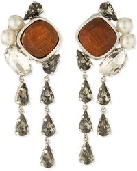 Lela Rose | Cluster Crystal Clip-on Earrings | Lyst