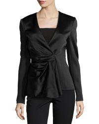 J. Mendel Satin Draped-Front Jacket black - Lyst