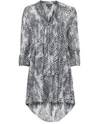 Topshop Feather Print Pussybow Dress  Grey - Lyst