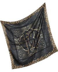 Roberto Cavalli Lace And Animal Print Silk Square Scarf - Lyst