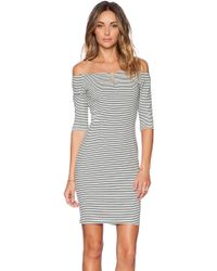 Shakuhachi - Off The Shoulder Stripe Dress - Lyst