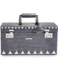 Eddie Borgo - Crocodile-embossed Leather Jewelry Box/silvertone - Lyst