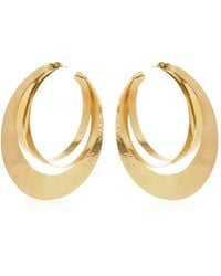 Herve Van Der Straeten Rebbon Hoop Earrings gold - Lyst