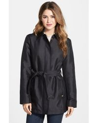 Ellen Tracy Covered Placket Trench Coat - Lyst