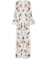 Honor Neon Fleur De Lis Silk Cady Gown with Bell Sleeves - Lyst