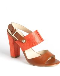 Anne Klein Traven Leather Slingback Sandals - Lyst