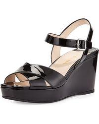 Prada Patent Ankle-Strap Wedge Sandal black - Lyst