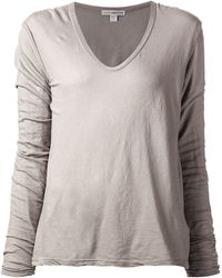 James Perse Beige Distressed T-Shirt - Lyst