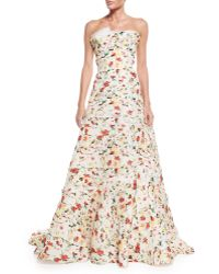 Carolina Herrera | Strapless Layered Floral-print Gown | Lyst