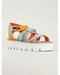 MSGM Palm Tree Print Sandals - Lyst