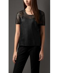 Burberry Bonded Lambskin Cut-Out Detail Top - Lyst