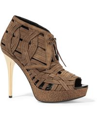 Burberry Prorsum - - Woven Suede Ankle Boots - Light Brown - Lyst
