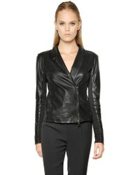 Emporio Armani Nappa Leather Jacket - Lyst