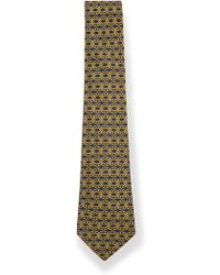 What Goes Around Comes Around Hermes Navy and Gold Pattern Silk Tie - Lyst