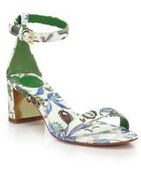 Tory Burch | Cecile Floral Leather Mid-heel Sandals | Lyst