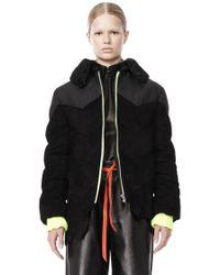Alexander Wang Puffer Jacket with Raw Hide Hem - Lyst
