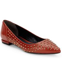 Kenneth Cole Roland Studded Leather Point Toe Flatscognac - Lyst