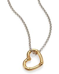 John Hardy Bamboo 18k Yellow Gold  Sterling Silver Heart Pendant Necklace - Lyst