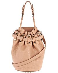 Alexander Wang Small Diego In Pebbled Blush With Rhodium - Lyst