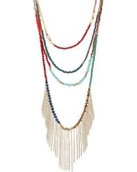 Topshop Bead Multi-Row Necklace - Lyst