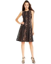 Nine West Sheer Floral Panel Dress - Lyst