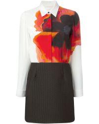 Victoria, Victoria Beckham Printed Shirt Combo Dress - Lyst