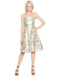 Peter Pilotto Strapless Printed Silk Mikado Dress - Lyst