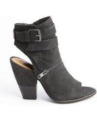 Dolce Vita Black Leather Zip and Anklestrap Nayla Heel Booties - Lyst