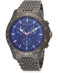 Gucci G-timeless Gunmetal Stainless Steel Chronograph Bracelet Watch - Lyst