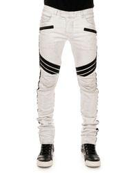 Balmain Stripe-Detail Biker Jeans - Lyst