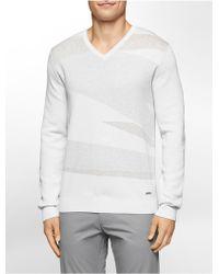 Calvin Klein | White Label Premium Slim Fit V-neck Silk Cotton Sweater | Lyst